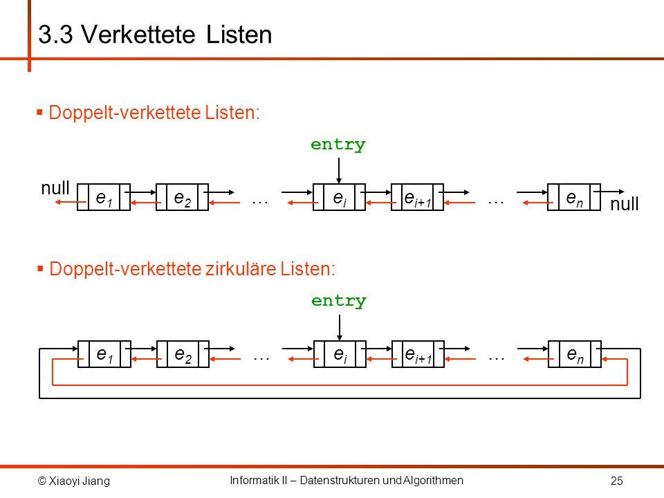 © Xiaoyi Jiang Informatik II – Datenstrukturen und Algorithmen 25 3.3 Verkettete Listen Doppelt-verkettete zirkuläre Listen: e1e1 e2e2 enen eiei e i+1 …… entry Doppelt-verkettete Listen: e1e1 e2e2 enen eiei e i+1 …… entry null