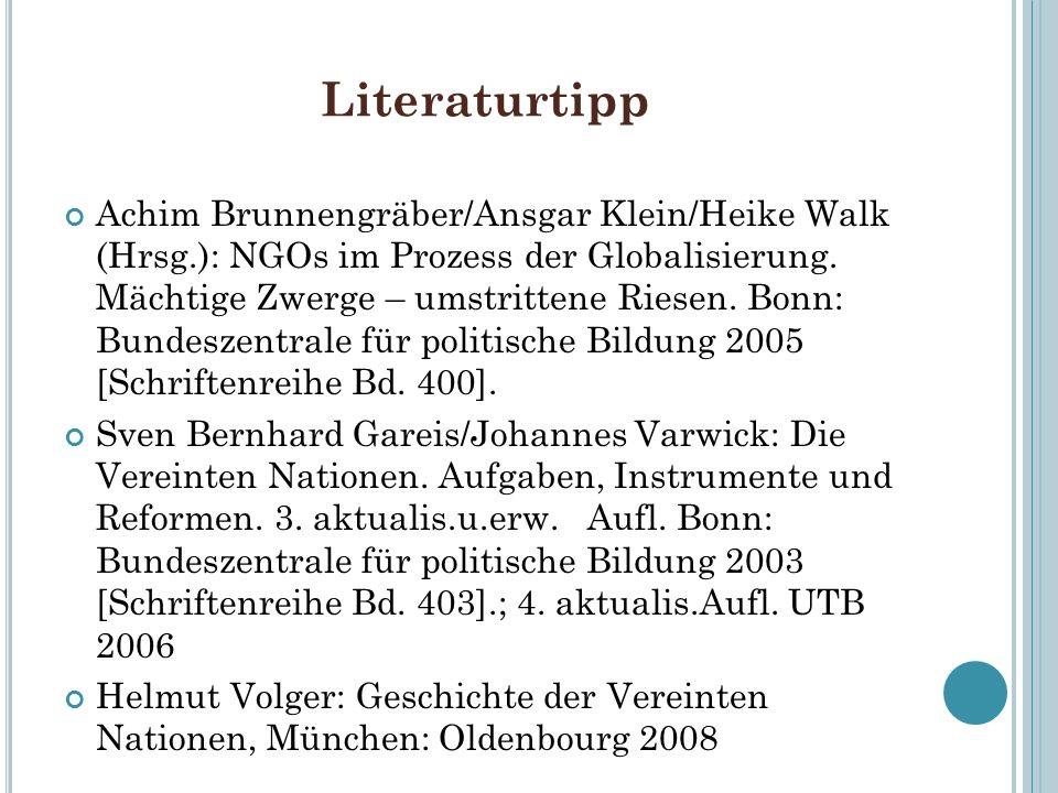 Literaturtipp Achim Brunnengräber/Ansgar Klein/Heike Walk (Hrsg.): NGOs im Prozess der Globalisierung. Mächtige Zwerge – umstrittene Riesen. Bonn: Bun