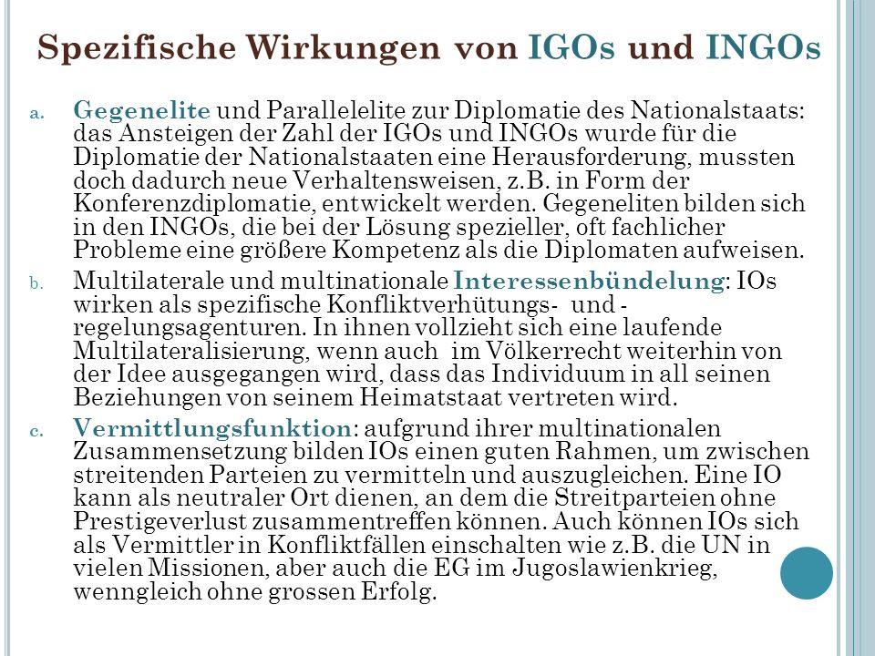 Spezifische Wirkungen von IGOs und INGOs a. Gegenelite und Parallelelite zur Diplomatie des Nationalstaats: das Ansteigen der Zahl der IGOs und INGOs