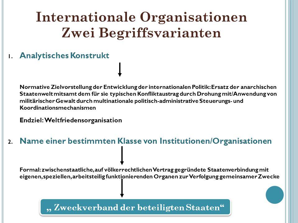 Internationale Organisationen Zwei Begriffsvarianten 1. Analytisches Konstrukt Normative Zielvorstellung der Entwicklung der internationalen Politik: