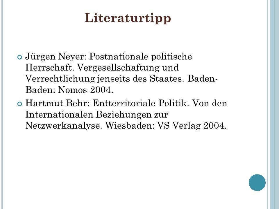 Literaturtipp Jürgen Neyer: Postnationale politische Herrschaft. Vergesellschaftung und Verrechtlichung jenseits des Staates. Baden- Baden: Nomos 2004