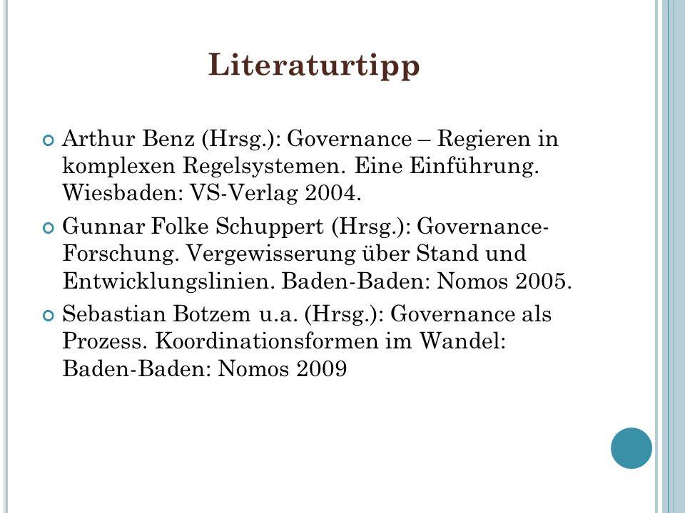Literaturtipp Arthur Benz (Hrsg.): Governance – Regieren in komplexen Regelsystemen. Eine Einführung. Wiesbaden: VS-Verlag 2004. Gunnar Folke Schupper