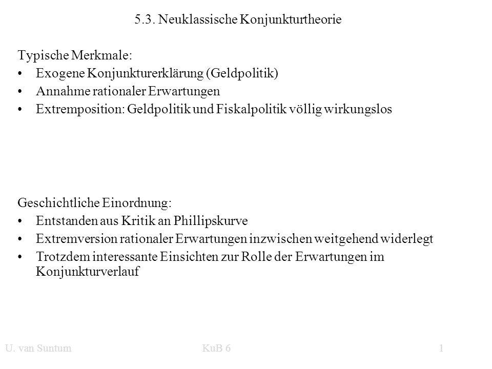 WS 2006/07 1 U. van SuntumKonjunktur und Beschäftigung 5.3. Neuklassische Konjunkturtheorie Typische Merkmale: Exogene Konjunkturerklärung (Geldpoliti