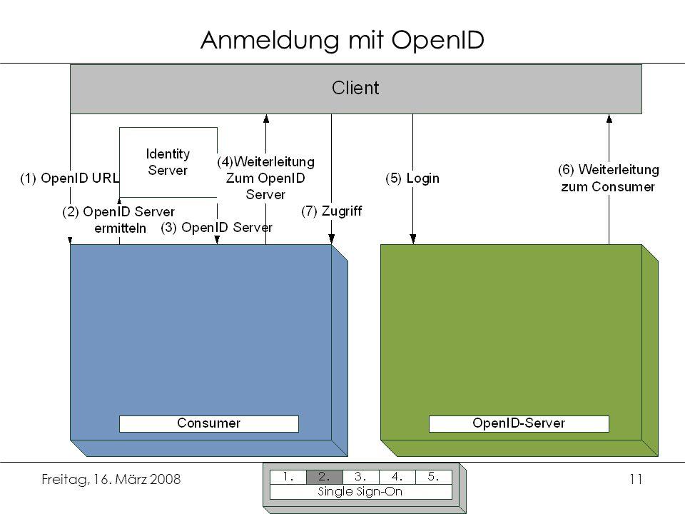 Freitag, 16. März 200811 Anmeldung mit OpenID