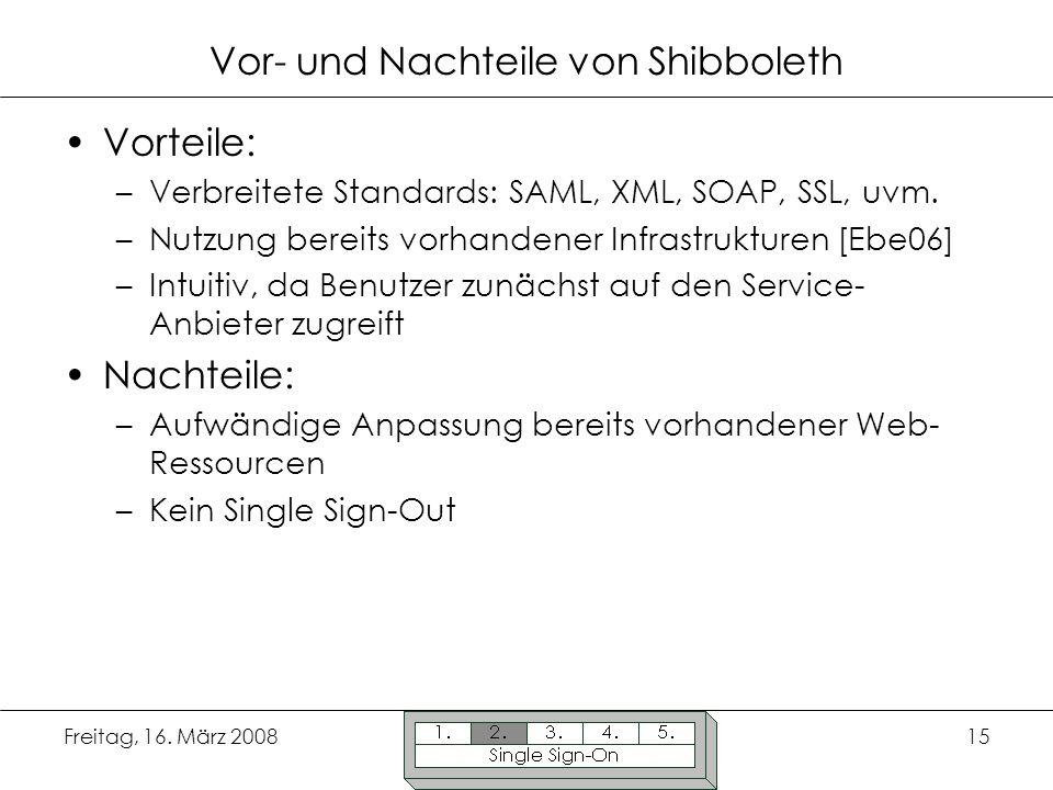 Freitag, 16. März 200815 Vor- und Nachteile von Shibboleth Vorteile: –Verbreitete Standards: SAML, XML, SOAP, SSL, uvm. –Nutzung bereits vorhandener I