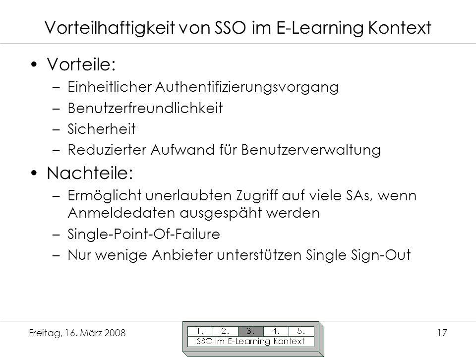 Freitag, 16. März 200817 Vorteilhaftigkeit von SSO im E-Learning Kontext Vorteile: –Einheitlicher Authentifizierungsvorgang –Benutzerfreundlichkeit –S