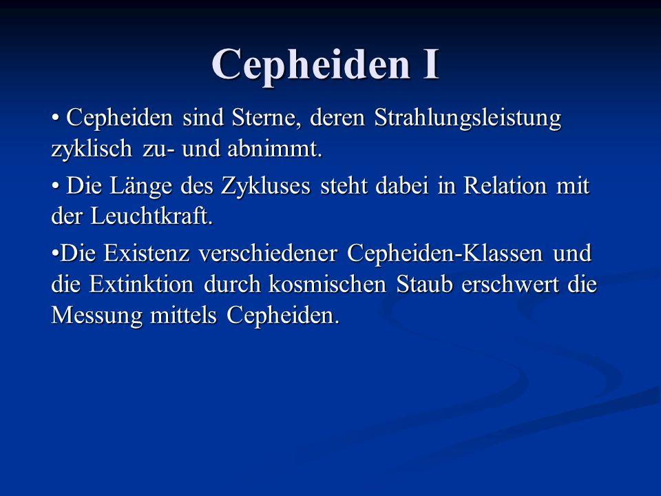 Cepheiden I Cepheiden sind Sterne, deren Strahlungsleistung zyklisch zu- und abnimmt. Cepheiden sind Sterne, deren Strahlungsleistung zyklisch zu- und