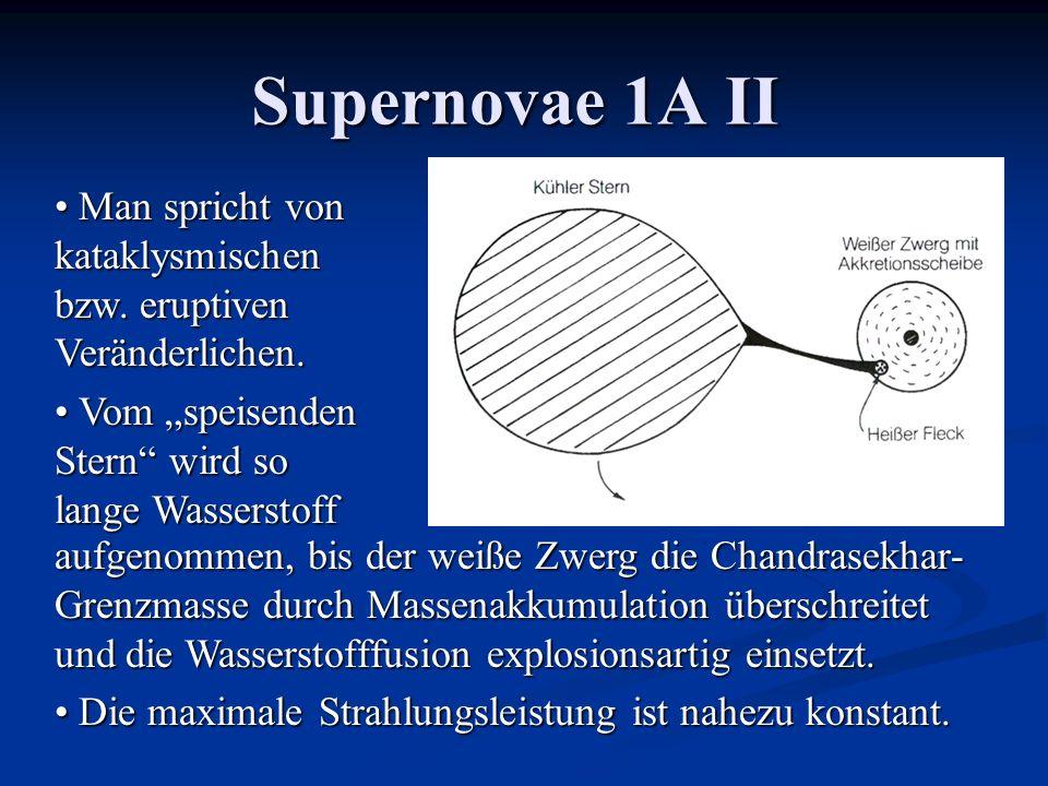 Supernovae 1A II Man spricht von kataklysmischen bzw. eruptiven Veränderlichen. Man spricht von kataklysmischen bzw. eruptiven Veränderlichen. Vom spe