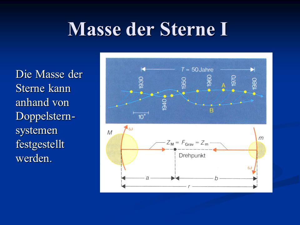 Masse der Sterne I Die Masse der Sterne kann anhand von Doppelstern- systemen festgestellt werden.