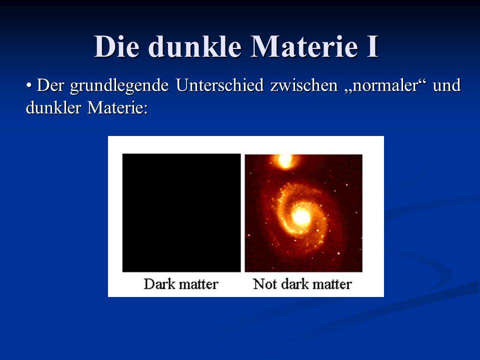 Die dunkle Materie I Der grundlegende Unterschied zwischen normaler und dunkler Materie: Der grundlegende Unterschied zwischen normaler und dunkler Ma