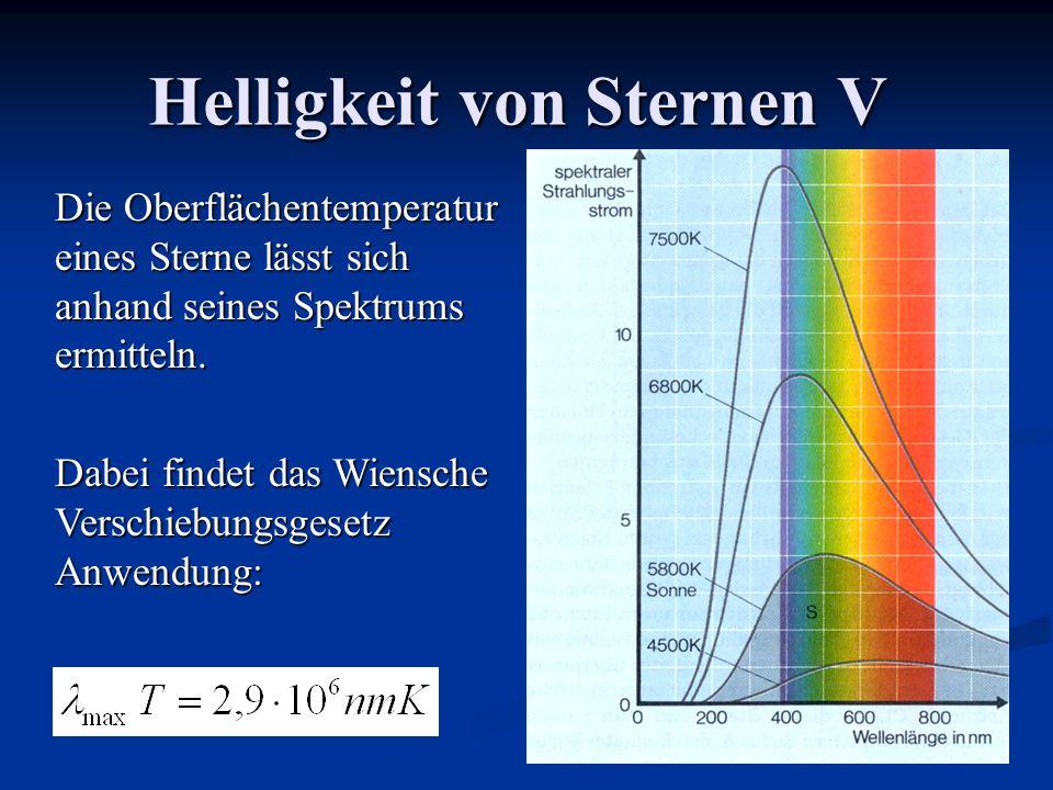 Helligkeit von Sternen V Die Oberflächentemperatur eines Sterne lässt sich anhand seines Spektrums ermitteln. Dabei findet das Wiensche Verschiebungsg