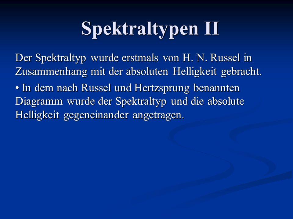 Spektraltypen II Der Spektraltyp wurde erstmals von H. N. Russel in Zusammenhang mit der absoluten Helligkeit gebracht. In dem nach Russel und Hertzsp