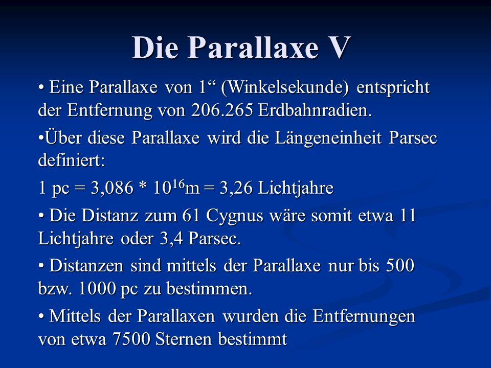 Die Parallaxe V Eine Parallaxe von 1 (Winkelsekunde) entspricht der Entfernung von 206.265 Erdbahnradien. Eine Parallaxe von 1 (Winkelsekunde) entspri