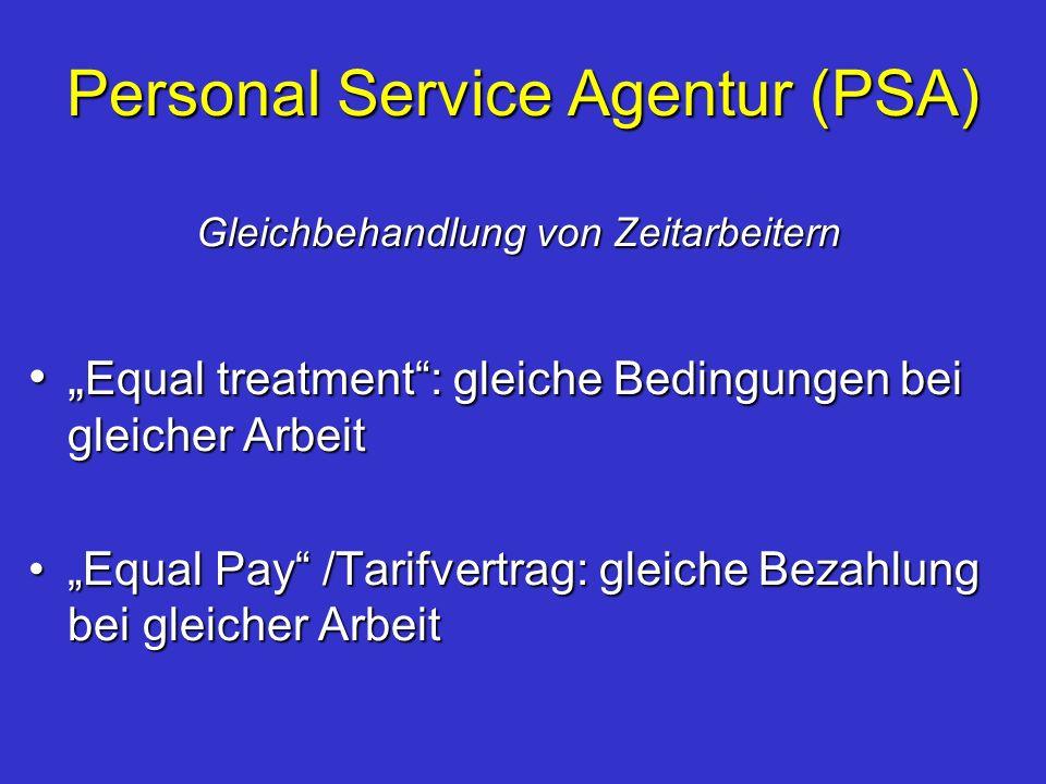 Personal Service Agentur (PSA) Gleichbehandlung von Zeitarbeitern Equal treatment: gleiche Bedingungen bei gleicher Arbeit Equal treatment: gleiche Be