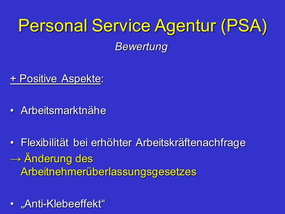 Personal Service Agentur (PSA) Bewertung + Positive Aspekte: ArbeitsmarktnäheArbeitsmarktnähe Flexibilität bei erhöhter ArbeitskräftenachfrageFlexibil