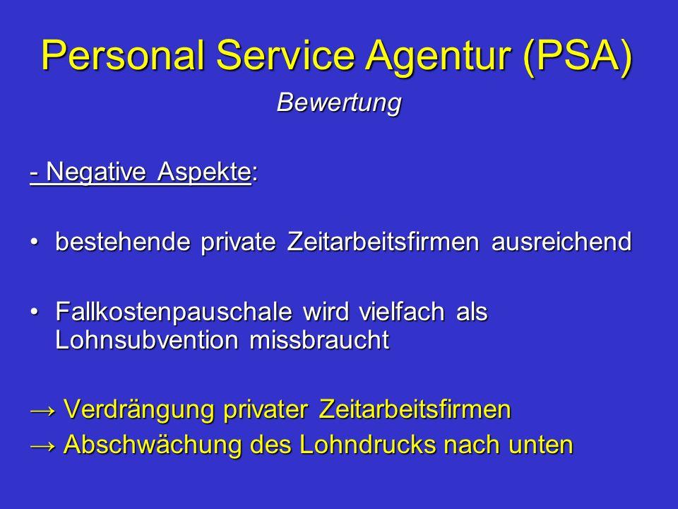 Personal Service Agentur (PSA) Bewertung - Negative Aspekte: bestehende private Zeitarbeitsfirmen ausreichendbestehende private Zeitarbeitsfirmen ausr