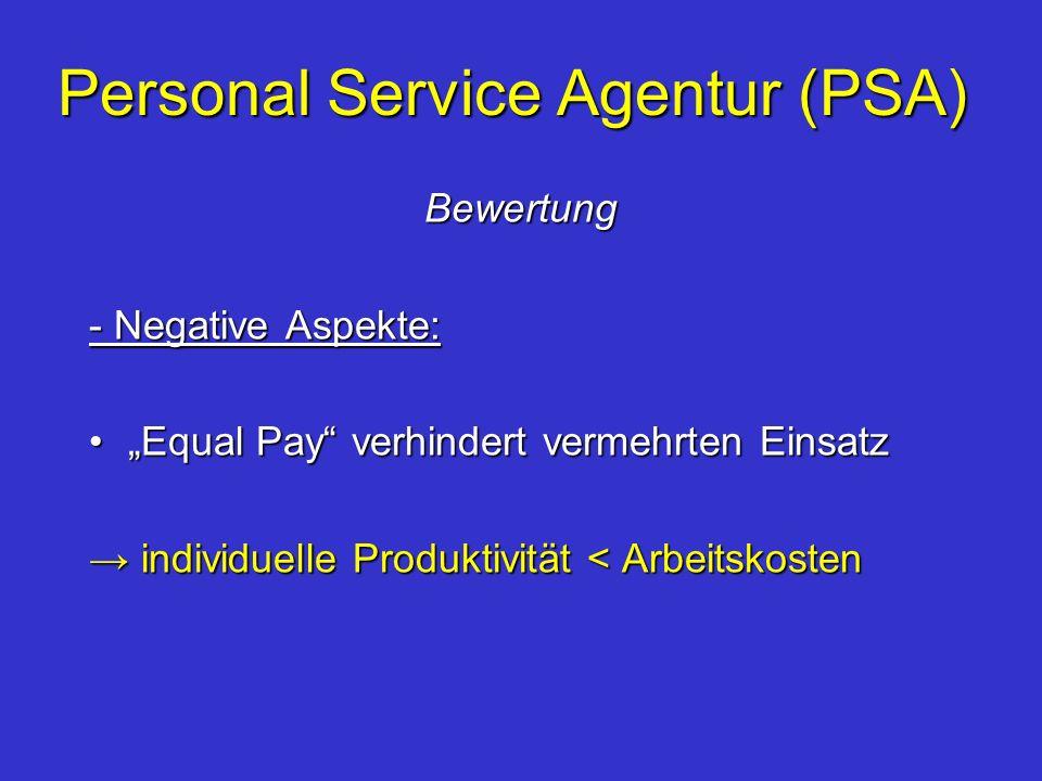 Personal Service Agentur (PSA) Bewertung - Negative Aspekte: Equal Pay verhindert vermehrten EinsatzEqual Pay verhindert vermehrten Einsatz individuel