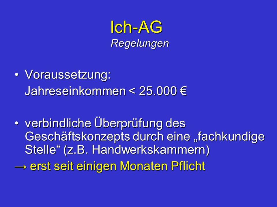 Ich-AG Regelungen Voraussetzung:Voraussetzung: Jahreseinkommen < 25.000 Jahreseinkommen < 25.000 verbindliche Überprüfung des Geschäftskonzepts durch