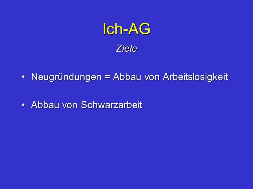 Ich-AG Ziele Neugründungen = Abbau von ArbeitslosigkeitNeugründungen = Abbau von Arbeitslosigkeit Abbau von SchwarzarbeitAbbau von Schwarzarbeit
