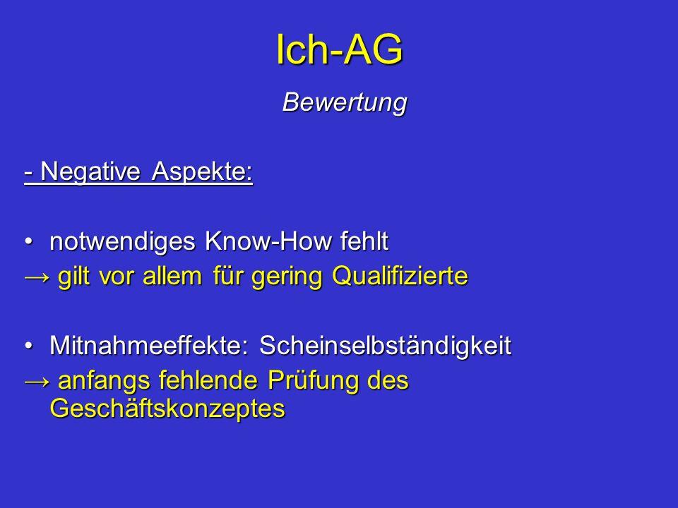 Ich-AG Bewertung Bewertung - Negative Aspekte: notwendiges Know-How fehltnotwendiges Know-How fehlt gilt vor allem für gering Qualifizierte gilt vor a
