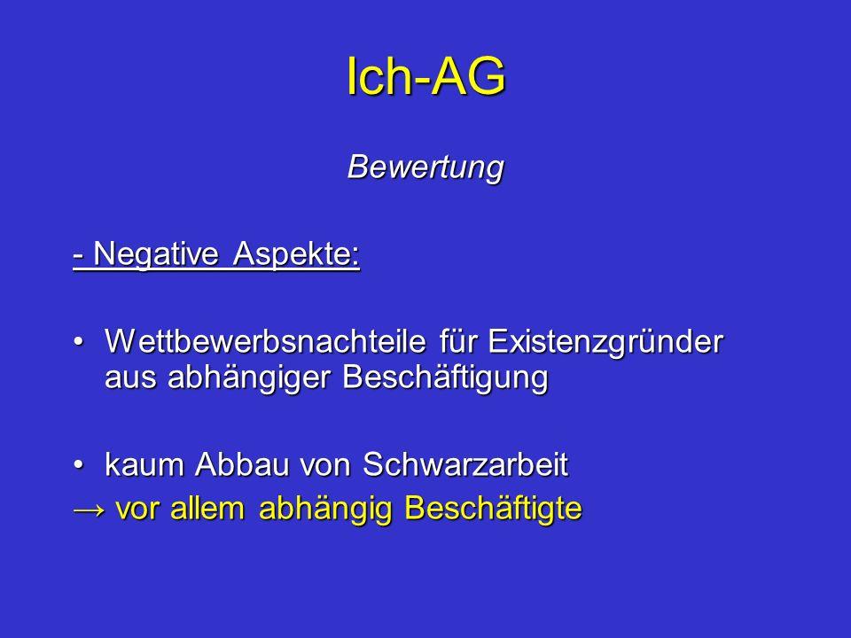 Ich-AG Bewertung - Negative Aspekte: Wettbewerbsnachteile für Existenzgründer aus abhängiger BeschäftigungWettbewerbsnachteile für Existenzgründer aus