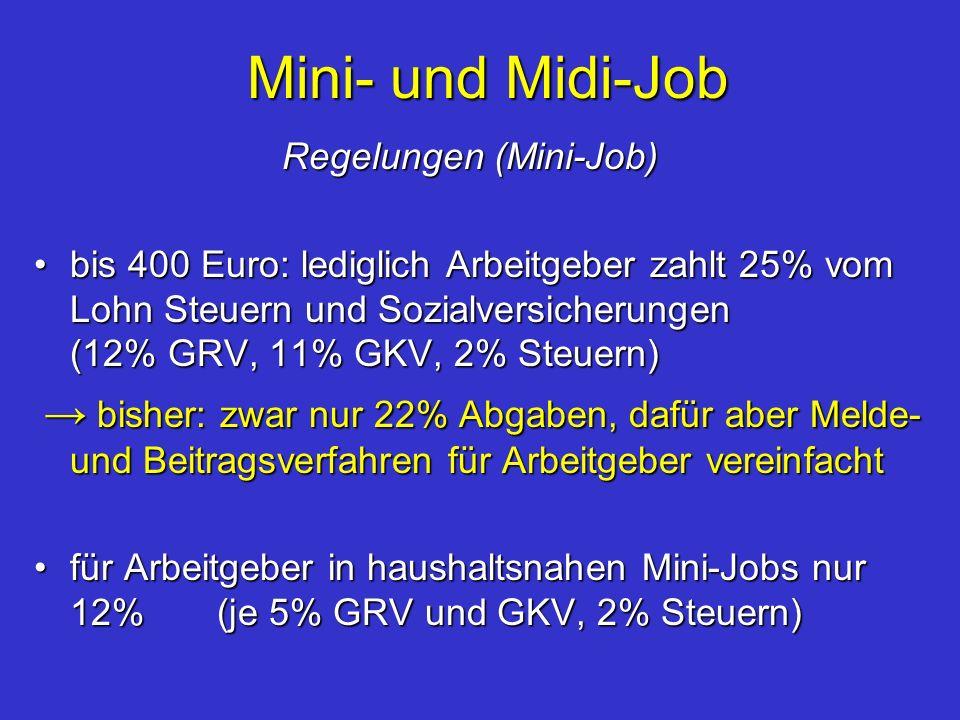 Mini- und Midi-Job Regelungen (Mini-Job) Regelungen (Mini-Job) bis 400 Euro: lediglich Arbeitgeber zahlt 25% vom Lohn Steuern und Sozialversicherungen