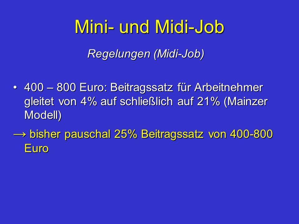 Mini- und Midi-Job Regelungen (Midi-Job) Regelungen (Midi-Job) 400 – 800 Euro: Beitragssatz für Arbeitnehmer gleitet von 4% auf schließlich auf 21% (M
