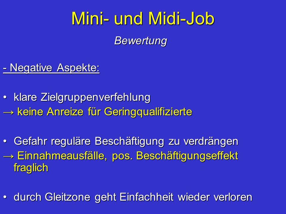 Mini- und Midi-Job Bewertung - Negative Aspekte: klare Zielgruppenverfehlungklare Zielgruppenverfehlung keine Anreize für Geringqualifizierte keine An