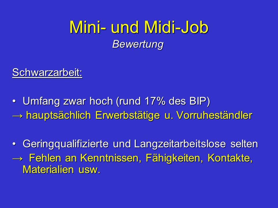 Mini- und Midi-Job BewertungSchwarzarbeit: Umfang zwar hoch (rund 17% des BIP)Umfang zwar hoch (rund 17% des BIP) hauptsächlich Erwerbstätige u. Vorru