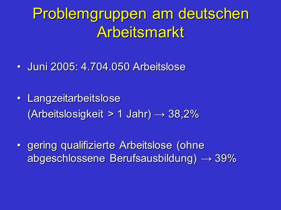 Problemgruppen am deutschen Arbeitsmarkt Juni 2005: 4.704.050 ArbeitsloseJuni 2005: 4.704.050 Arbeitslose LangzeitarbeitsloseLangzeitarbeitslose (Arbe