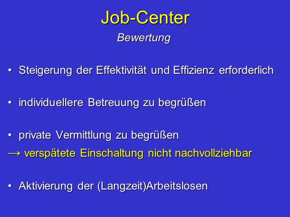 Job-CenterBewertung Steigerung der Effektivität und Effizienz erforderlichSteigerung der Effektivität und Effizienz erforderlich individuellere Betreu