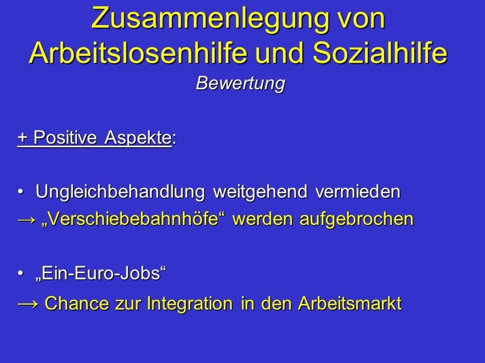 Zusammenlegung von Arbeitslosenhilfe und Sozialhilfe Bewertung + Positive Aspekte: Ungleichbehandlung weitgehend vermiedenUngleichbehandlung weitgehen