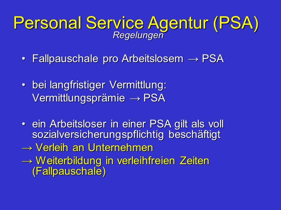 Personal Service Agentur (PSA) Regelungen Fallpauschale pro Arbeitslosem PSAFallpauschale pro Arbeitslosem PSA bei langfristiger Vermittlung:bei langf