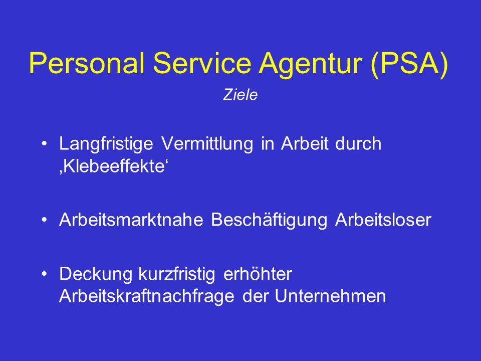 Personal Service Agentur (PSA) Ziele Langfristige Vermittlung in Arbeit durch Klebeeffekte Arbeitsmarktnahe Beschäftigung Arbeitsloser Deckung kurzfri