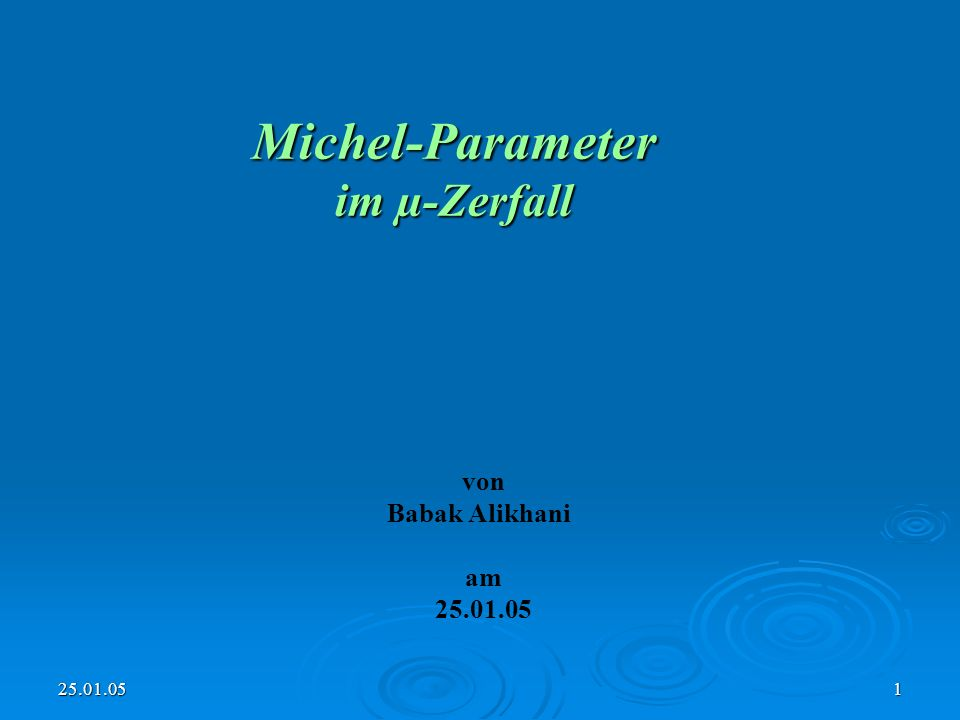 25.01.051 Michel-Parameter im µ-Zerfall von Babak Alikhani am 25.01.05