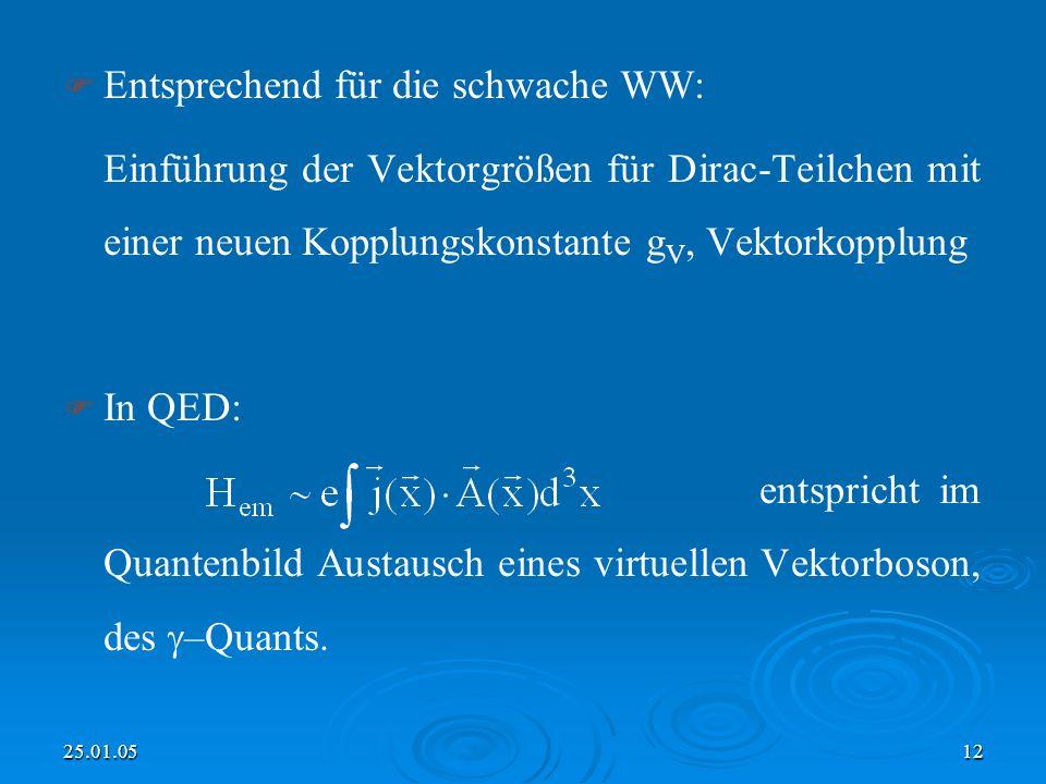 25.01.0512 Entsprechend für die schwache WW: Einführung der Vektorgrößen für Dirac-Teilchen mit einer neuen Kopplungskonstante g V, Vektorkopplung In QED: entspricht im Quantenbild Austausch eines virtuellen Vektorboson, des –Quants.