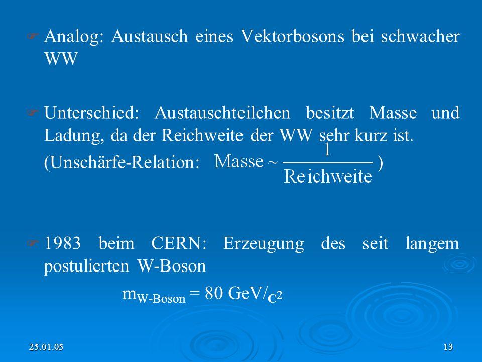 25.01.0513 Analog: Austausch eines Vektorbosons bei schwacher WW Unterschied: Austauschteilchen besitzt Masse und Ladung, da der Reichweite der WW sehr kurz ist.