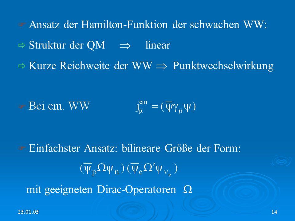 25.01.0514 Ansatz der Hamilton-Funktion der schwachen WW: Struktur der QM linear Kurze Reichweite der WW Punktwechselwirkung Einfachster Ansatz: bilineare Größe der Form: mit geeigneten Dirac-Operatoren
