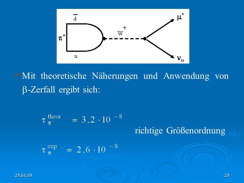 25.01.0525 Mit theoretische Näherungen und Anwendung von -Zerfall ergibt sich: richtige Größenordnung