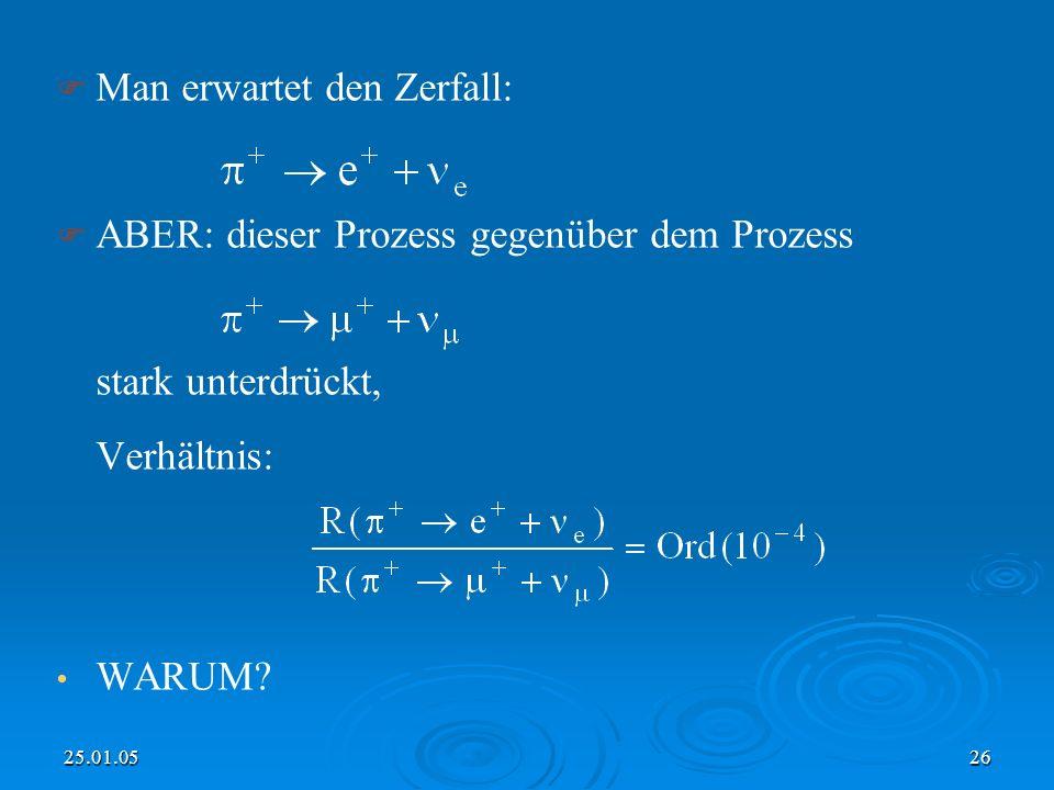 25.01.0526 Man erwartet den Zerfall: ABER: dieser Prozess gegenüber dem Prozess stark unterdrückt, Verhältnis: WARUM?