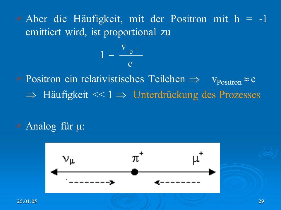 25.01.0529 Aber die Häufigkeit, mit der Positron mit h = -1 emittiert wird, ist proportional zu Positron ein relativistisches Teilchen v Positron c Häufigkeit << 1 Unterdrückung des Prozesses Analog für :