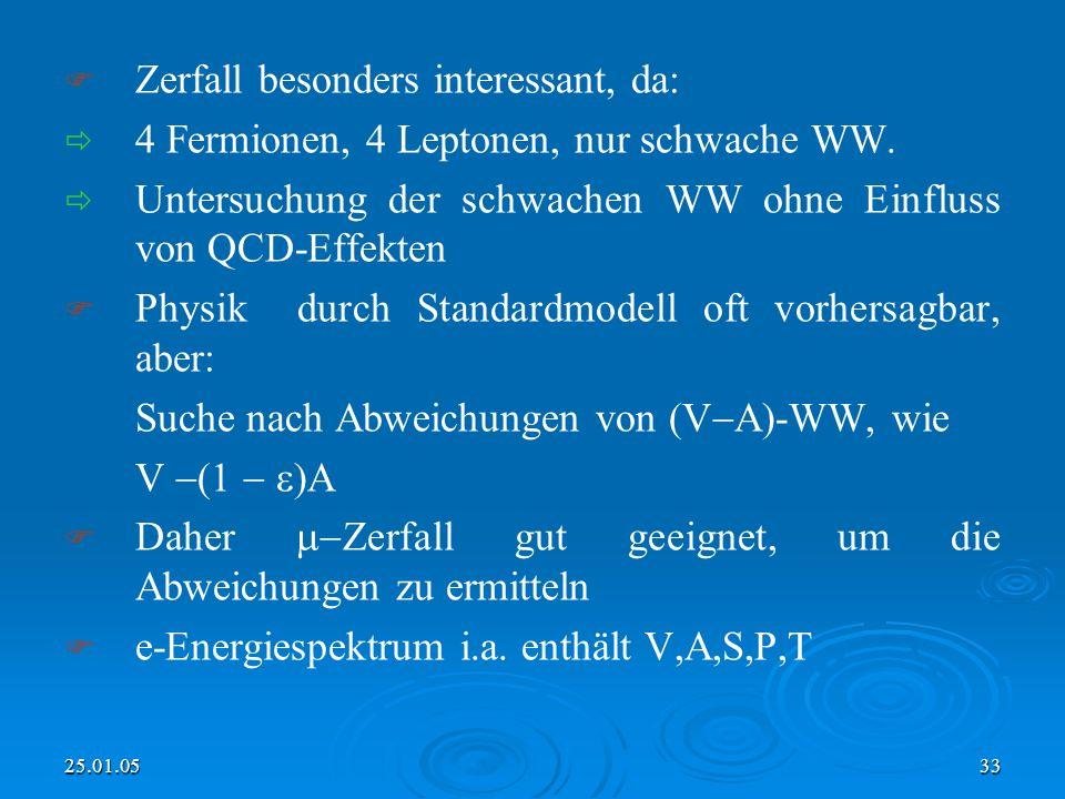25.01.0533 Zerfall besonders interessant, da: 4 Fermionen, 4 Leptonen, nur schwache WW.