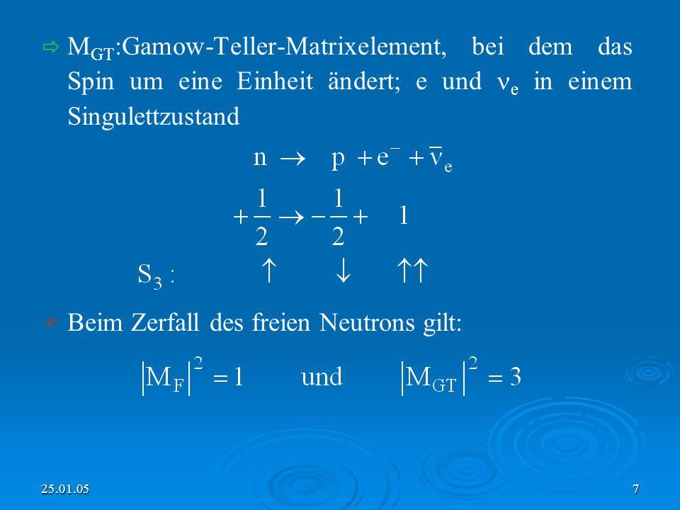 25.01.057 M GT :Gamow-Teller-Matrixelement, bei dem das Spin um eine Einheit ändert; e und e in einem Singulettzustand Beim Zerfall des freien Neutrons gilt: