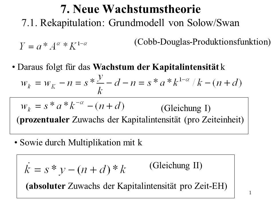 1 7. Neue Wachstumstheorie 7.1. Rekapitulation: Grundmodell von Solow/Swan (Cobb-Douglas-Produktionsfunktion) Daraus folgt für das Wachstum der Kapita