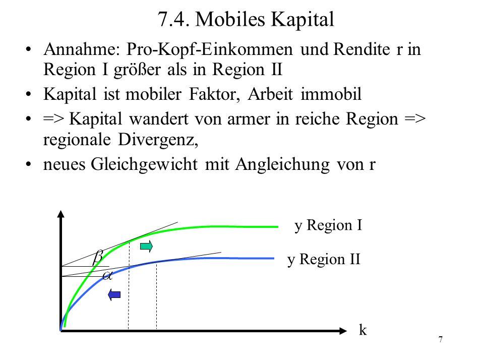 8 Arbeit mobil, Kapital immobil, Lohn w I > w II => Arbeit wandert von armer in reiche Region => regionale Konvergenz (k steigt in armer, sinkt in reicher Region) neues Gleichgewicht mit Angleichung von w y Region I y Region II k 7.5.