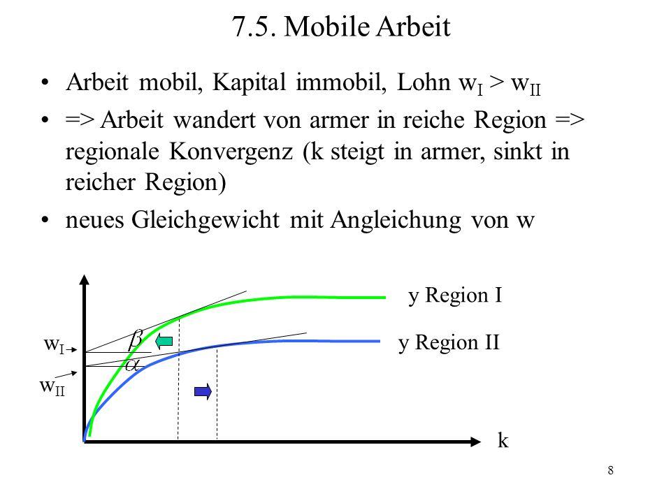 8 Arbeit mobil, Kapital immobil, Lohn w I > w II => Arbeit wandert von armer in reiche Region => regionale Konvergenz (k steigt in armer, sinkt in rei