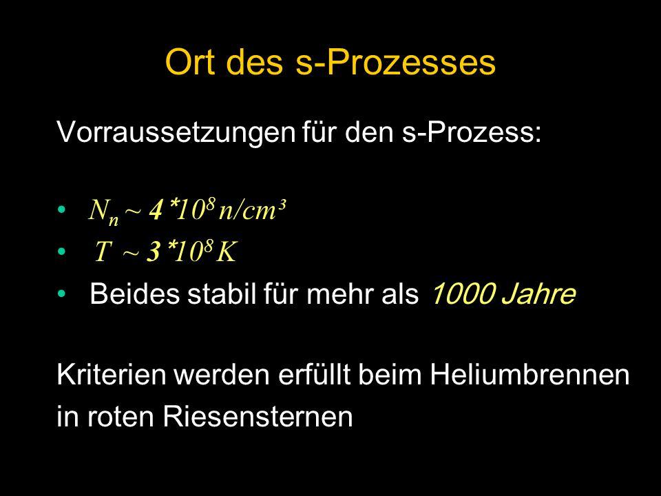 Vorraussetzungen für den s-Prozess: N n ~ 4 * 10 8 n/cm³ T ~ 3 * 10 8 K Beides stabil für mehr als 1000 Jahre Kriterien werden erfüllt beim Heliumbren
