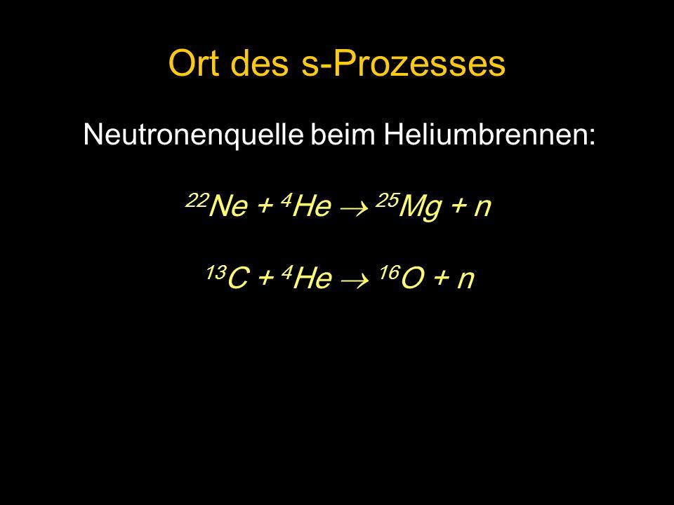 Neutronenquelle beim Heliumbrennen: 22 Ne + 4 He 25 Mg + n 13 C + 4 He 16 O + n Ort des s-Prozesses