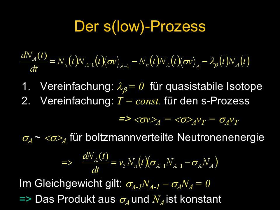 1.Vereinfachung: = 0 für quasistabile Isotope 2.Vereinfachung: T = const. für den s-Prozess => v A = A v T = A v T A ~ A für boltzmannverteilte Neutro