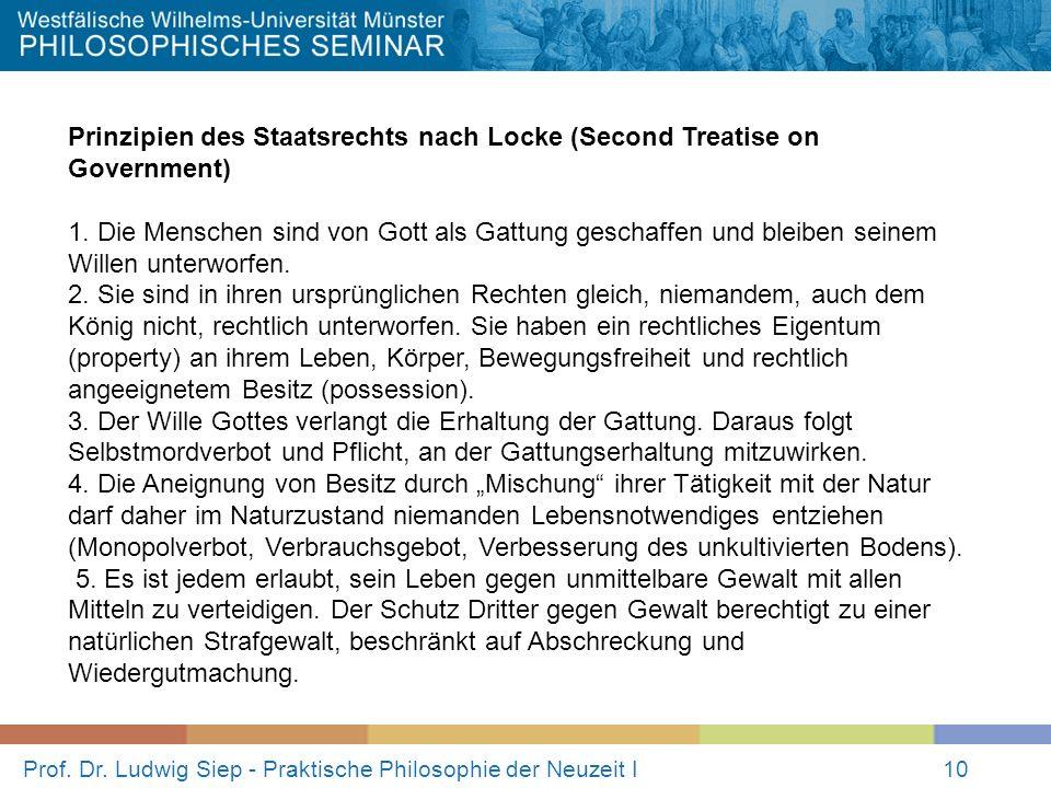 Prof. Dr. Ludwig Siep - Praktische Philosophie der Neuzeit I10 Prinzipien des Staatsrechts nach Locke (Second Treatise on Government) 1. Die Menschen
